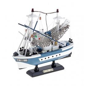 Корабль-баржа сувенирный - голубые борта, сетка
