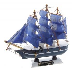 Корабль сувенирный малый - синий, синие паруса