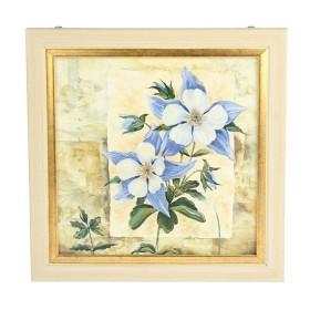 """Ключница клён с золотом """"Синие цветы"""""""