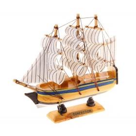 Корабль малый - светлое дерево, белые паруса с полосой