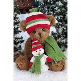 Мишка в шапочке и шарфе со снеговиком (36 см)