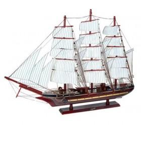 Корабль сувенирный - красное дерево, якорь, три мачты