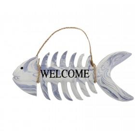 """Табличка """"Welcome"""" скелет рыбы"""