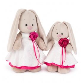 """""""Зайка Ми"""" в белом платье с розой (32 см)"""