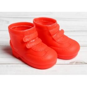 """Ботинки для игрушек 27-30 см  """"Липучки"""", длина подошвы 7,5 см, цвет красный"""