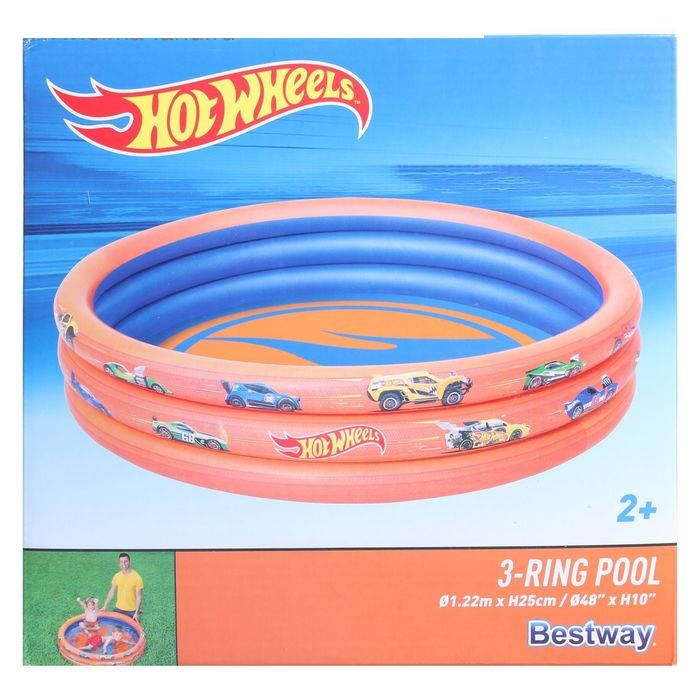 Бассейн надувной Hot Wheels, 122 х 25 см, от 2 лет